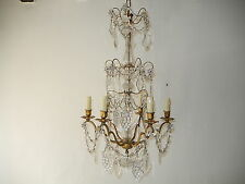 ~c1890 French Ormolu Crystal Grape Cluster Prisms Chandelier Baccarat Style!~