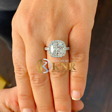 14k White Gold Cushion Forever One Moissanite and Diamond Engagement Ring 5.50ct