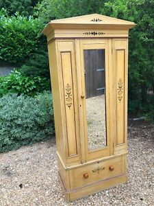 Rare antique pine wardrobe with original paint effect and detailing and mirror