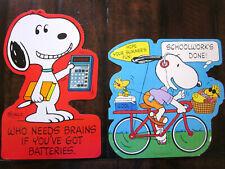 Vintage HALLMARK 2 Die Cut Wall Decorations Snoopy Woodstock School Days