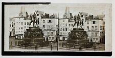 Cologne Köln Statue Allemagne Photo Ferrier ? Plaque stéréo ca 1860