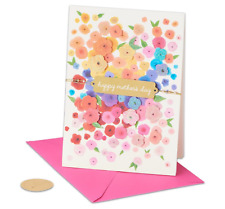 Papyrus Mother's Day card - Flower Cascade with Glitter - Gold Tie & Pearls