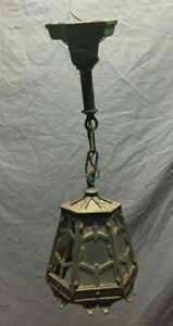 Antique Cast Iron Ceiling Pendant Light Outdoor Exterior Hexagonal Vtg 249-19C