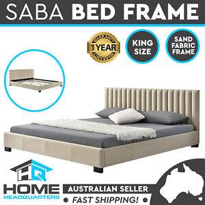 King Size Bed Frame Solid Wooden Legs Sand Fabric Frame Upholstered Timber Slats