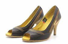 Diesel Helena Womens UK 5 EU 38 Brown Leather High Heel Peep Toe Court Shoes