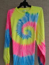 Unisex  Port and Company  Cotton L/S Crew  Neck Tie Dyed Tee Shirt 3X Multicolor