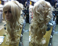 Charming women Long Blonde Curly Hair Lady's Full Wigs+Free wig cap