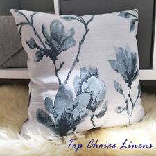 45cm x 45cm Light Teal/Grey Magnolia Floral Jacquard Cushion Cover