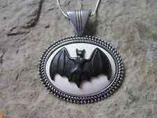 VAMPIRE BLACK BAT CAMEO NECKLACE PENDANT  - HALLOWEEN, 925 PLATE CHAIN- QUALITY