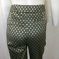 Chico's Womens Black Gold Diamond Geometric Pattern Ankle Pants Chicos Size 1.5