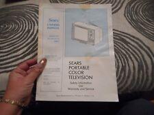 Vintage Sears Portable Color Television Booklet