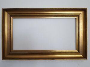(L) alter Bilderrahmen vergoldet schlichte elegante Leiste FM 33 x 63 cm
