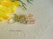 Ohrringe Ohrhänger  Kristall Tropfen ROSA nostalgisch Burlesque **handmade**