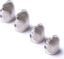 More details for axen 4 pieces sewing thimble, metal silver sewing thimble finger protector, diy