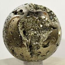 48mm Peruvian Pyrite Sphere Natural Golden Sparkling Druzy Cubes Mineral Stone