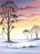 LIMITED EDITION PRINT WITH MOUNT BY SARAH FEATHERSTONE, WINTER SKY,HARES EVENING