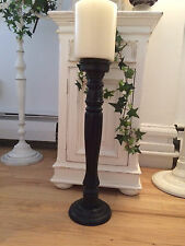"20 1/2"" Tall Free Standing Carved  Wood Pillar Candle Holder"