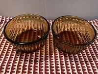 2 ANCHOR HOCKING Brown Amber Glass CUSTARD DESSERT PREP BOWLS Oven-Proof 1434