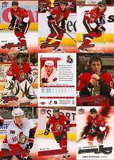2008-09 UD Fleer Ultra Ottawa Senators Master Team Set w/ RC's (12)
