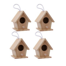 4pcs Bird Nest Creative Wooden Rustic Birdhouse Box for Garden Home Decor NEW