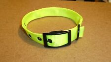"Dog Collar, Hi Viz Yellow, Black Metal Buckle and Eyelets, Adjusts 12""-16"""