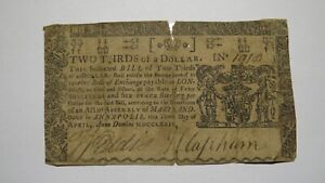 1774 $2/3 Annapolis Maryland MD Colonial Currency Bank Note Bill! Rare Issue USA