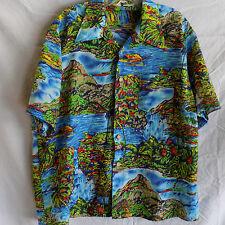 Vintage Royal Islander Hawaiian Shirt Aloha Blue Green XL Volcano Palms Korea