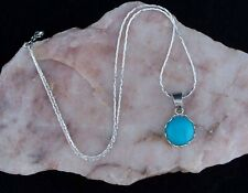 Lovely Turquoise 12 mm Pendant,925 Sterling Silver Chain Necklace.Handmade