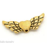 50 Neu Antik Gold Engelsflügel Herz Charm Perlen Beads 22x9mm