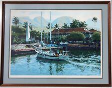 "GEORGE ALLAN SIGNED PRINT LAHAINA MAUI HAWAII ART SAILING BOATS AP 22/39 25""x35"""