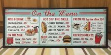 On The MENU Metal Vintage Style Hot Dog Cafe Grill Pub Garage Coke Refreshments