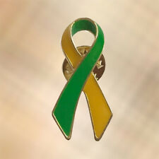 NEW Yellow & Green Ribbon Mental Health And Suicide Awareness Lapel Pin