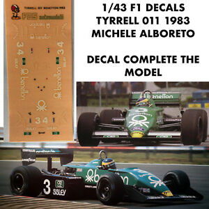 1/43 F1 DECALS TYRRELL 011 1983 MICHELE ALBORETO DECAL COMPLETE THE MODEL