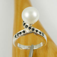 Round White Pearl & Natural Sapphire Gemstone Ring Genuine 925 Sterling Silver