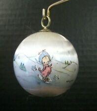 """Hallmark Ornament Betsey Clark on Skis 1976 2"""" Satin Ball Birds Keepsake"""