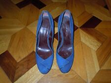Lady's DKNY Blue Suede Leather Heels Shoes Made In Italy Size 9