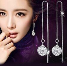 Silver Plated Long Dangle Earrings Rhinestone Crystal Stud Pierced Ears E147 UK