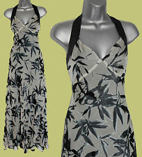 MONSOON Grey Black Silk Print Halterneck V Neck Wedding Party Maxi Dress UK 12