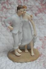 """CAKE TOPPER PORCELAIN BEACH WEDDING BRUNETTE GROOM RED HAIR BRIDE WEDDINGSTAR 5"""""""