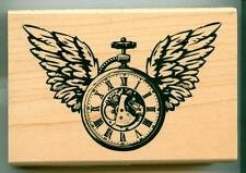 Inkadinkado rubber stamp Winged Watch wood mounted, Time