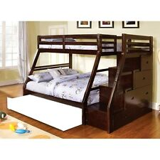 Ellington Twin over Full Bunk bed Built in Storage Staircase Stairway Espresso