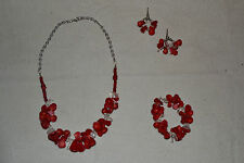 Women's Jewelry-Handmade-Necklace-Earings-Bracelet-Red-Clear-Silver-3 Piece Set