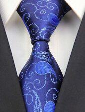 Fashion Classic Navy Royal Paisley JACQUARD Woven Silk Men's Tie Necktie BA39