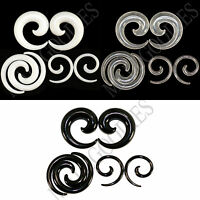 V130 White Black Clear Ear Stretchers Tapers Expanders Ear Plugs Spiral Swril