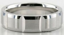 14K WHITE SOLID GOLD MENS WEDDING BANDS RINGS SATIN FINISH 6MM