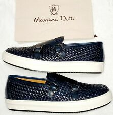 Massimo Dutti Leather Casual Dress Shoes Mens Size Euro 45 - USA 12 Navy Blue