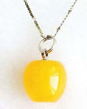 Pretty Yellow Jade White Gold Plated Apple Pendant and Necklace