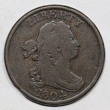 1804 C-9 R-2 E-MDS Planchet Clip Draped Bust Half Cent Coin 1/2c