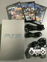 PS2 Satin Silver Console controller 3games Playstation 2 SONY Japan Limited