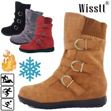 Womens Winter Warm Booties Shoes Buckle Flat Short Mid-calf Ankle Snow Boots Top